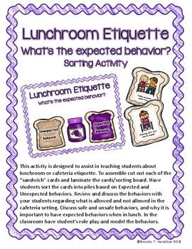 """Lunchroom Etiquette"" Student Activity"