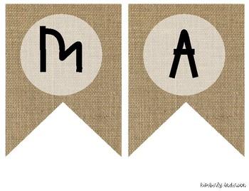 """""""MATH"""" Farmhouse Burlap Focus Wall Pennant / Banner"""