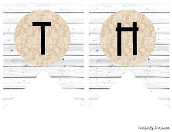 """""""MATH"""" White Wood / Shiplap and Burlap Lace: Focus Wall Pennant / Banner"""