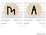 """MATH"" White Wood / Shiplap and Burlap Lace: Focus Wall Pe"