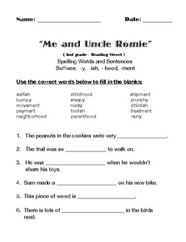 """""""ME AND UNCLE ROMIE"""" by Claire Hartfield ( Activitiy packet )"""