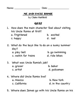 """ME AND UNCLE ROMIE"" by Claire Hartfield ( Activity packet)"