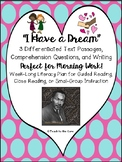 """MLK, Jr."" Literacy Morning Work w/ Text, Comprehension, & Writing"