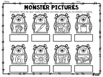 *MONSTER* CVC Practice - Monster Themed Short Vowel Activities