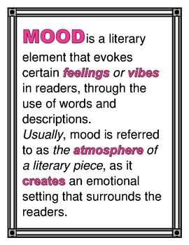 """MOOD"" Examples in Literature!  PLUS ""Mood in Movie Clips"" Graphic Organizer!"