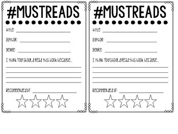 #MUSTREAD Book Recommendations Slips