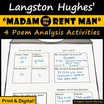 """Madam and the Rent Man"" (Langston Hughes) Poem Activities"