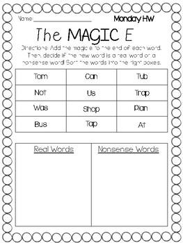 """Magic"" E Worksheet Sort"
