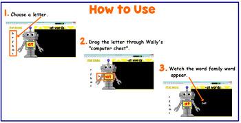Wally the Wordbot Short E Word Families  (Flipcharts & Printables)