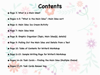 Main Idea Packet: Worksheets and Handouts
