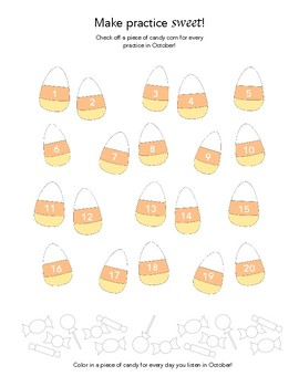 """""""Make Practice Sweet!"""" - Fall Piano Practice Chart"""