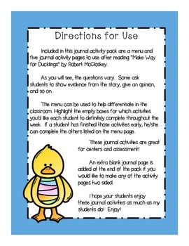 """""""Make Way for Ducklings"""" Journal Activity Pack"""