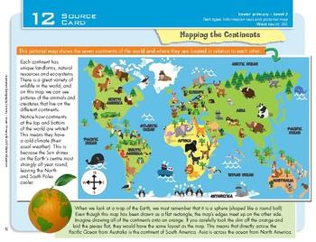 """""""Mapping Continents"""" Year 2 Card 12 Australian Geography Centre"""