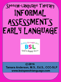 Speech Language Therapy Informal Assessments Early Language