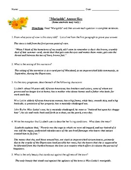 """Marigolds"" Worksheet, Assessment, or Homework Assignment with Answer Key"