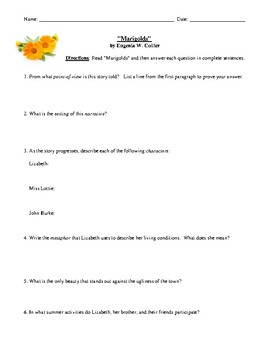 Commonlit Marigolds Answer Key : Guiding Questions Name 1 ...