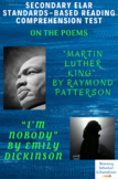 """""""Martin Luther King"""" & """"I'm Nobody"""" Poetry Reading Comprehension & Analysis Test"""