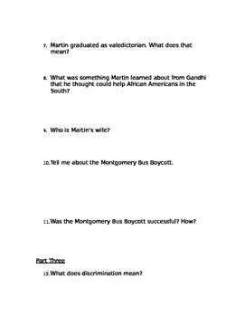 """""""Martin Luther King Jr.- A Man of Peace"""" Comprehension Questions"""