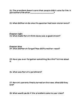 """""""Marvin Redpost- Class President"""" Comprehension Questions"""