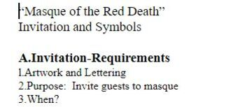 """""""Masque of the Red Death"""" Invitation and Symbols"""