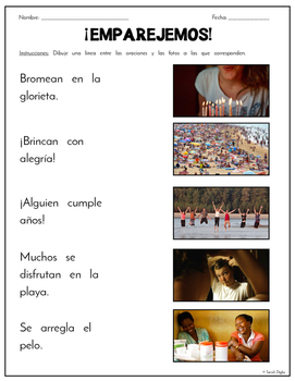 """""""Match Sentences to Pictures"""" –10 Worksheets for Beginning Readers (Spanish)"""