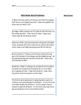* Math Word Problems About Ancient Mali - Multi and Single Step - VA SOL *