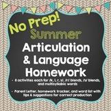No Prep Summer Articulation and Language Homework