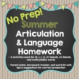No Prep Summer Articulation and Language Homework