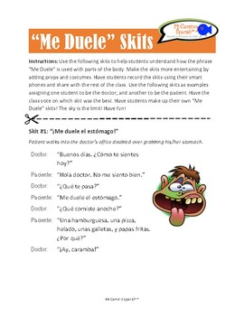"""Me Duele"" Skits for Spanish Students!"