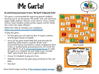 ¡Me Gusta! Spanish Board Game & Flashcards