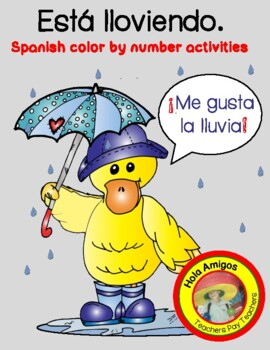 ¡Me gusta la lluvia! - 5 color by number sheets in Spanish