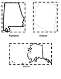 """""""Me on the Map"""" Booklet (50 States Cut-Outs)"""