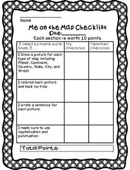 """""""Me on the Map"""" Rubric-Perfect for End of your Map Unit"""