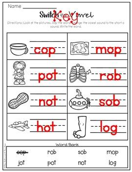 {Medial Sound Manipulation} Short E, O, & U Practice Sheet