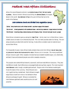 """""""Medieval West Africa"""" - Map and Research Activities + Assessments"""