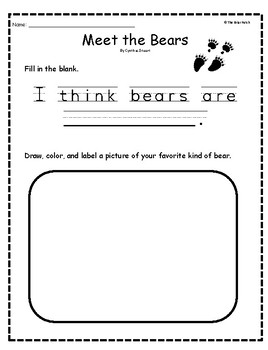 """Meet the Bears"" Guided Reading Program Activities"
