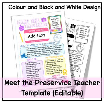 'Meet the (Pre-service) Teacher' editable template