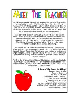 """""""Meet the Teacher"""" Letter"""