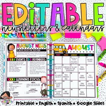 Calendar & Newsletter Template Bundle {Brights Kidlettes Edition}