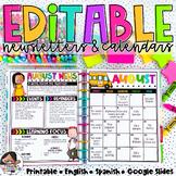 Calendar & Newsletter Template Bundle   Calendar 2021-2022   Distance Learning