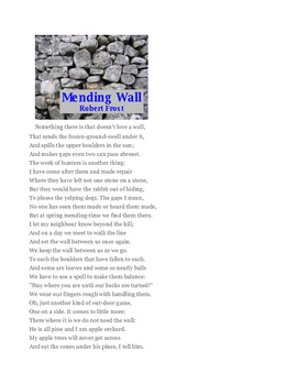 """""""Mending Wall"""" by Robert Frost - Poem & Question Set"""