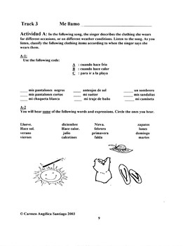 """Mi ropa es importante"": Song and Activity packet"
