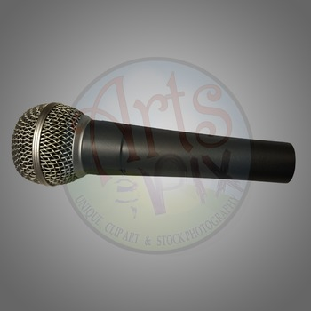 """Mic Drop"" Clipart Stock Photo of a Microphone"