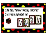 """""""Mickey Inspired"""" Black Red and Yellow classroom Alphabet"""