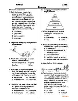 (Middle Grades - Life Science) Ecology QUIZ