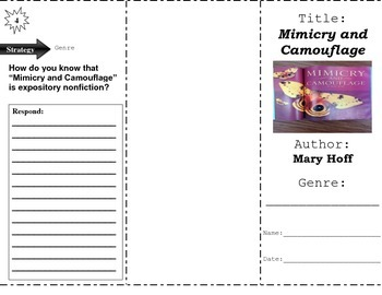 """Mimicry and Camouflage"" Comprehension Trifold (Storytown Lesson 11)"