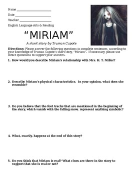 """""""Miriam"""" by Truman Capote - Discussion Questions"""