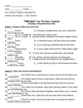 """""""Miriam"""" by Truman Capote - Reading Comprehension Quiz"""