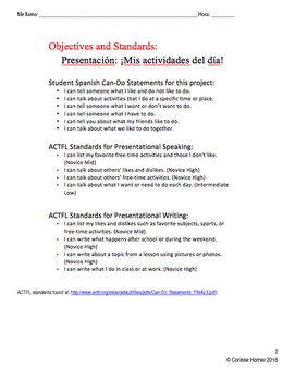 ¡Mis actividades del día! - Presentational Speaking and Writing Assessment