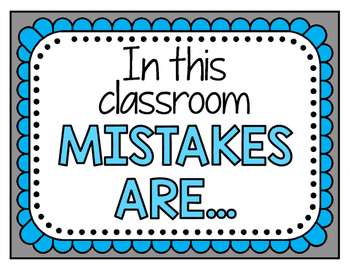 """Mistakes in this Classroom"" Mindset Poster Set"